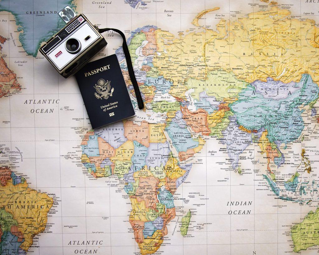 passport, map, world